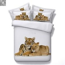 Two Tigers Single/King/Queen Bed Quilt/Duvet/Doona Cover Set New Cotton Linen