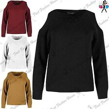 Womens Ladies Cold Cut Out Shoulder Cable Knitted Round Neck Short Crop Jumper