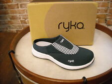 Ryka Navy Blue Canvas Largo Gingham Check Mule NEW