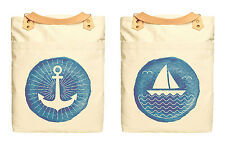 Anchor And Sailboat Print Cotton Canvas Leather Strap Laptop Backpack WAS_34