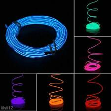5M LED Light Glow EL Wire String Strip Rope Car Dance Party + 12V Power Inverter