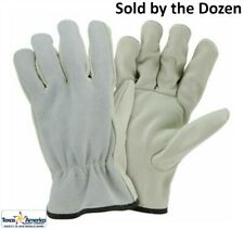 Top Grain Cowhide Leather Work Gloves with Split Leather Back Sold by Dozen