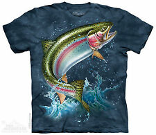 Rainbow Trout  Fishing The Mountain Adult Size T-Shirt