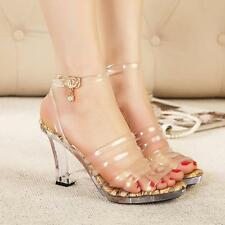 Fashion Womens lady  Sexy Clear Transparent High Heels Strappy Sandals Shoes