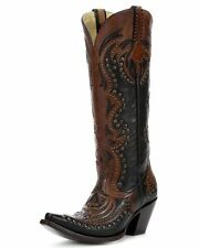 "Corral Ladies 15"" Snip Toe Leather Cowboy Western Boots Black Cognac G1072"