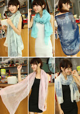 New Women's Fashion Pretty Long Soft Chiffon Scarf Wrap Shawl Stole Scarves lot