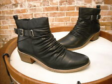 Bare Traps Pennie Black Buckle Detail Ruched Ankle Boots NEW