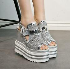 Womens Punk Peep Toe sequin Platform Gothic Creeper Sandals wedge heels Shoes