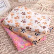 Warm Fleece Dog Bed Mat with Cartoon Paw Print Pattern Puppy Blanket