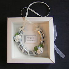Bridal wedding lucky real horseshoe in BLUE and IVORY