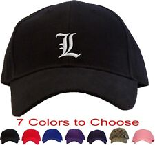 L - Signature Letter Embroidered Baseball Cap - Available in 7 Colors - Hat