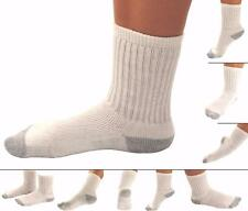 6 12 18 24 Pack Kid's White Crew Socks Boys, Girls, Youth Size 7-8.5 Cotton NEW