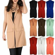 Women Ladies Sleeveless Collar LongLine Duster Waistcoat Jacket Blazer Plus Size