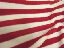 QUALITY Printed Anti Pil Polar Fleece Fabric Material - RED STRIPE
