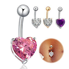 Fashion Rhinestone Heart Dangle Clear Navel Bar Piercing Body Belly Ring Jewelry