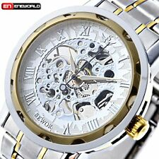 Mens Classic Transparent Steampunk Skeleton Mechanical Stainless Steel Watch New