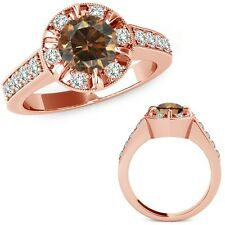 1.75 Carat Champagne Round Diamond  Solitaire Halo Engagement Ring 14K Rose Gold
