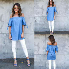 New Ladies Summer Top Women Off Shoulder Loose Fashion Tops Blouse T-shirt Shirt