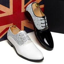 Mens pointy toe patent leather dress formal shoes wedding lace up shoes