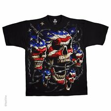 NEW Fantasy Skull Patriotic Skulls USA Biker Gothic Skeleton T Shirt M L XL 2X