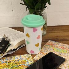 Confetti Hearts Travel Mug Double Wall Reusable Flask Silicone Lid Car Takeaway