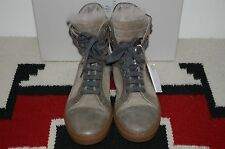 Brunello Cucinelli Made in Italy Fur Trim Distressed Metallic Boots