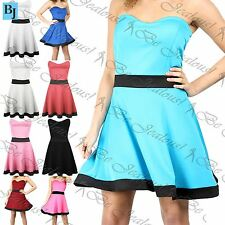 Womens Ladies Contrast Panel Strapless Bandeau Boobtube Flared Mini Skater Dress