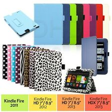 "PU Leather Folio Case Cover Stand For Amazon Kindle Fire HD 7"" NEW HDX 7& 8.9"