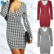 Womens Dogtooth Print V Neck Mini Dress Ladies Tight Fit Short Tunic Bodycon