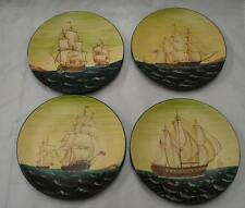 "Decor Set of 4 Plates Tall Ships 1700's Boats NEW Vintage Style 8.5"" Berries 652"