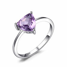 JewelryPalace1.1ct Natural Amethyst Trillion Solitaire Ring 925 Sterling Silver