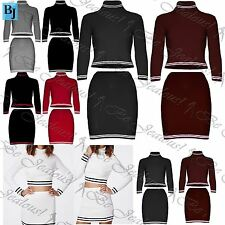 Womens Co-Ordinates Ladies Set Knitted Ribbed Polo Neck Crop Top Mini Skirts