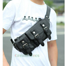 Men's Leather Belt Buckle Shoulder Messenger Fanny Pack Waist Sling Chest Bag