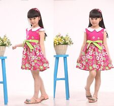New Girls Spring Summer Dress Floral Bowknot Cotton Casual Party Children Dress