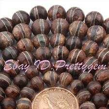 8-12mm Smooth Round Donut Stripe Old Agate Onyx Gemstone Spacer Loose Beads 15""