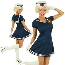 Adult 50s Pin Up Sailor Costume US Navy Military Fancy Dress Party Outfit & Hat