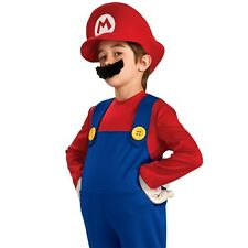 Kids Super Mario Bros Costume Nintendo Game Plumber Halloween Party Outfit & Hat