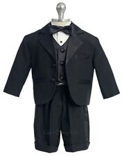 New Boys 5 Piece Black Burgundy Tuxedo Shorts Suit Set Wedding Party Easter 149F