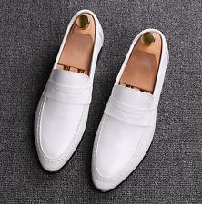 Mens pointy toe dress formal soft pull on wedding casual leather shoes loafer