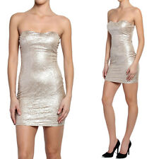 TheMogan Gold Bustier Patterned Bodycon Mini Strapless Tube Cocktail Club Dress
