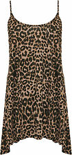 Womens Plus Leopard Vest Top Ladies Print Sleeveless Strappy Swing Flared
