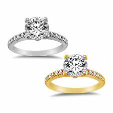 14k Yellow or White Solid Gold 1 1/4 ct TGW Round-Cut Cubic Zirconia Pave Engage