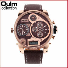 OULM Military Army 3 multi Time Zone LED Sport Wrist Analog Quartz Mens Watch