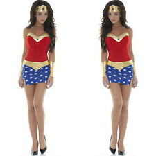 Adult Women Sexy Halloween Super Hero Costumes Wonder Lady Girl Avenger Outfit