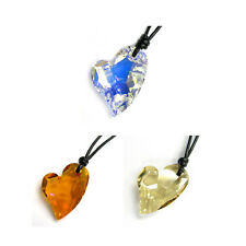 Ajustable Leather Cord Necklace made with Swarovski Elements Crystal pendant