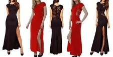 Ladies Lace Long Bodycon Evening Cocktail Fashion Dress Cut Out Red 8 10 12 14