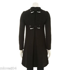 Moschino Cheap & Chic Tweed Asymmetric Black Bow Back Coat BNWT 14 IT 46 £989