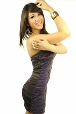 DEALZONE Stunning Ruched Side Accent Dress S M Small Medium Women Purple