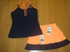 NWT WOMES ADIDAS All Premium TENNIS OUTFIT SKIRT SKORT & TANK TOP PADDED BRA