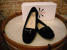 Isaac Mizrahi Black Suede Kilty Arissa Moccasin Flats NEW